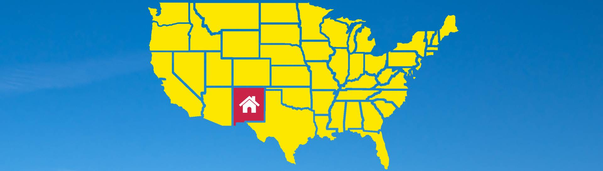 Yellow US Map with New Mexico in Red with House Icon